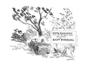 Couple in car pass a sign that reads, 'South Fallsview will not be seen to… - New Yorker Cartoon by James Stevenson