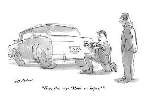 """""""Hey, this says 'Made in Japan.'"""" - New Yorker Cartoon by James Stevenson"""