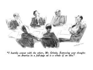 """I heartily concur with the others, Mr. Grimby.  Expressing your thoughts …"" - New Yorker Cartoon by James Stevenson"