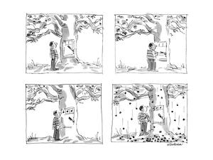 Man approaches slot machine built into a cherry tree. He pulls the lever, … - New Yorker Cartoon by James Stevenson