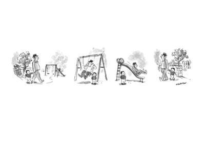 Man bringing small child to park, but it is the man who plays on the swing… - New Yorker Cartoon by James Stevenson