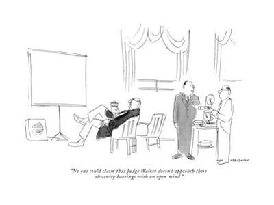 """""""No one could claim that Judge Walker doesn't approach these obscenity hea…"""" - New Yorker Cartoon by James Stevenson"""