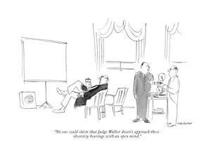 """No one could claim that Judge Walker doesn't approach these obscenity hea…"" - New Yorker Cartoon by James Stevenson"
