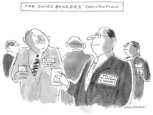 The Swiss Banker's Convention - New Yorker Cartoon by James Stevenson