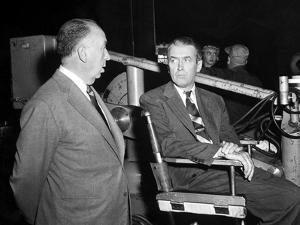 James Stewart & Alfred Hitchcock (b/w photo)