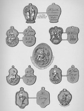 Gold, silver, and lead tickets admitting to Vauxhall Gardens, c1740, (1912)
