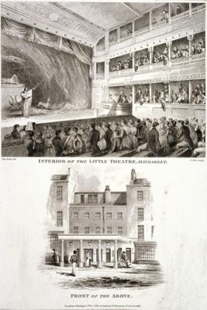 Interior and Exterior Views of the Haymarket Theatre, Westminster, London, 1815