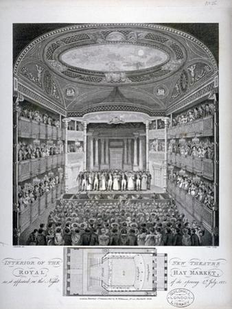 Interior View of the Haymarket Theatre, London, on its Opening Night in 1821