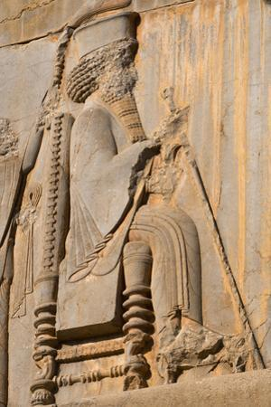Carved relief of Darius the Great, builder of Persepolis, UNESCO World Heritage Site, Iran, Middle  by James Strachan