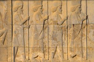 Carved relief of Royal Persian guard, Apadana Palace, Persepolis, UNESCO World Heritage Site, Iran, by James Strachan