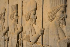Carved relief of Royal Persian Guards, Apadana Palace, Persepolis, UNESCO World Heritage Site, Iran by James Strachan
