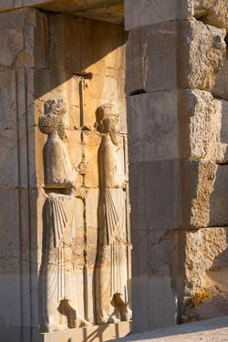 Carved relief of Royal Persian Guards, Persepolis, UNESCO World Heritage Site, Iran, Middle East by James Strachan