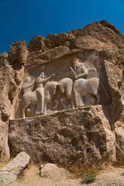 Carved relief of the Investiture of Ardashir I, 224-239 AD, Naqsh-e Rostam Necropolis, near Persepo by James Strachan