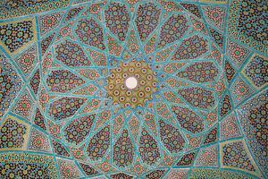 Ceiling of Tomb of Hafez, Iran's most famous poet, 1325-1389, Shiraz, Iran, Middle East by James Strachan