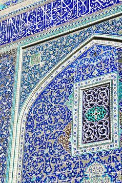 Detail of ceramic tiles on wall in Isfahan blue, Imam Mosque, UNESCO World Heritage Site, Isfahan,  by James Strachan