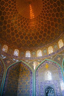 Interior of the dome of Sheikh Lotfollah Mosque, Isfahan, Iran, Middle East by James Strachan