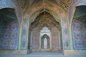 Late 19th century tiling at Nasir-al Molk Mosque, Shiraz, Iran, Middle East by James Strachan