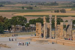 Overview of All Nations Gate and tourist groups setting off on their tours, Persepolis, UNESCO Worl by James Strachan