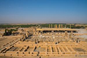 Overview of Persepolis from Tomb of Artaxerxes III, Persepolis, UNESCO World Heritage Site, Iran, M by James Strachan