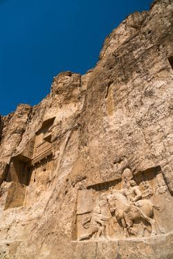 Tomb of Ataxerxes I and carved relief below, Naqsh-e Rostam Necropolis, near Persepolis, Iran, Midd by James Strachan