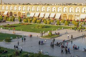 View across Naqsh-e (Imam) Square, UNESCO World Heritage Site, from Ali Qapu Palace, Isfahan, Iran, by James Strachan