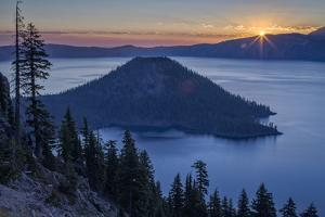 Sunrise over Crater Lake and Wizard Island by James