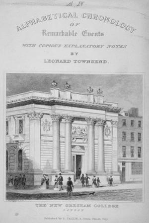 Gresham College, Basinghall Street, City of London, 1845 by James Tingle