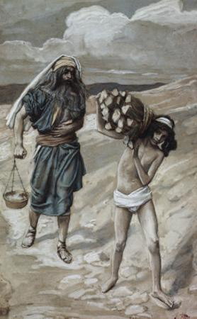 Isaac Bears the Wood For His Sacrifice by James Tissot
