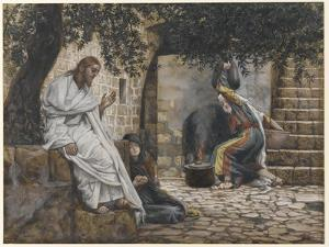 Mary Magdalene at the Feet of Jesus, Illustration from 'The Life of Our Lord Jesus Christ', 1886-94 by James Tissot