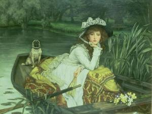 Young Woman in a Boat, or Reflections, circa 1870 by James Tissot