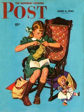 """""""Knitting for the War Effort,"""" Saturday Evening Post Cover, June 6, 1942 by James W. Schucker"""