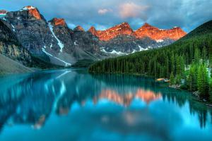 Taken at the Peak of Color during the Morning Sunrise at Moraine Lake in Banff National Park. by James Wheeler
