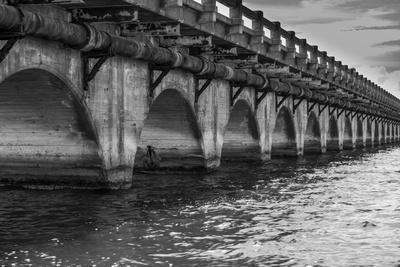 Black and White Horizontal Image of an Old Arch Bridge in Near Ramrod Key, Florida