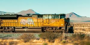 Freight Train Engine on the Move in West Texas by James White