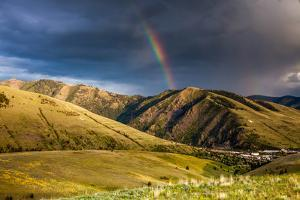 Rainbow at Sunset over Hellgate Canyon in Missoula, Montana by James White