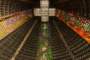 The high ceiling of the Metropolitan Cathedral of Saint Sebastian, Rio, Brazil by James White