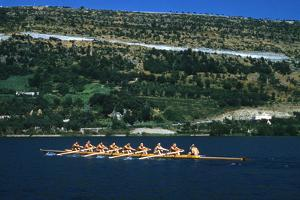 August 1960: U.S. Oar Crew Practicing on Lake Lugane, 1960 Rome Summer Olympic Games by James Whitmore