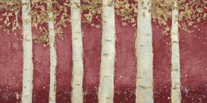 Magnificent Birch Grove Burgundy Crop by James Wiens