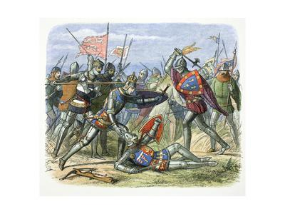 Henry V of England attacked by the Duke of Alencon at the Battle of Agincourt, 1415 (1864)