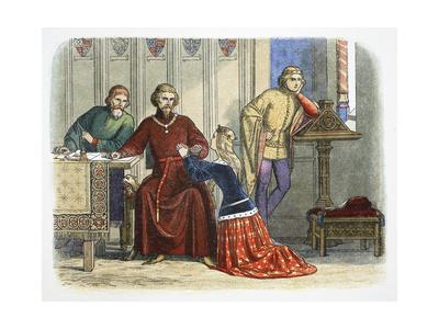 Queen Anne intercedes with Gloucester and Arundel for Sir Simon de Burley, 1388 (1864)