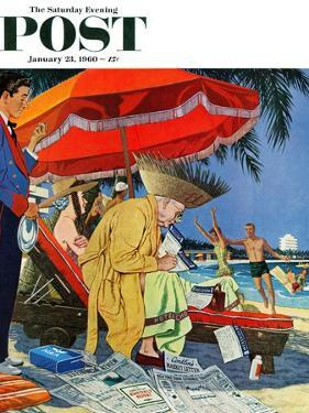 """Business at the Beach,"" Saturday Evening Post Cover, January 23, 1960 by James Williamson"