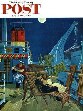 """Romantic Night on Deck,"" Saturday Evening Post Cover, July 16, 1960 by James Williamson"