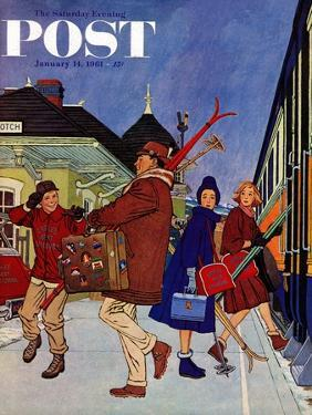 """""""Wrong Week at the Ski Resort,"""" Saturday Evening Post Cover, January 14, 1961 by James Williamson"""