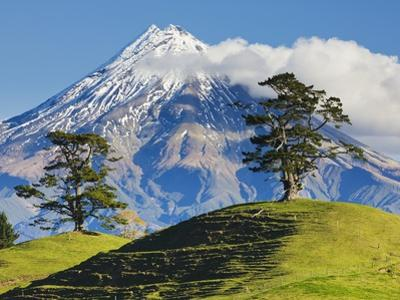 Lush hills in front of Mount Egmont