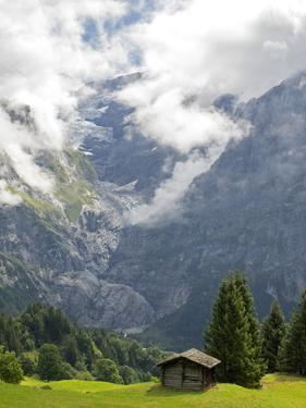 Switzerland, Bern Canton, Grindelwald, Barns Near First by Jamie And Judy Wild