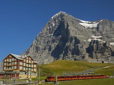 Switzerland, Bern Canton, Kleine Scheidegg, Jungfraubahn Train and the Eiger North Face