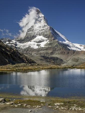 Switzerland, Zermatt, Rotenboden, Riffelsee and Matterhorn