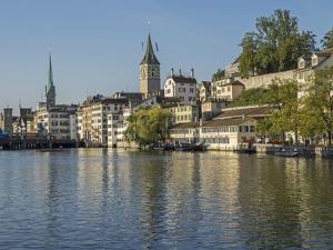 Switzerland, Zurich, Limmat River and Historic Lindenhof Area by Jamie And Judy Wild