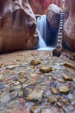 Utah, Kanarraville, Kanarra Creek Canyon and Waterfall
