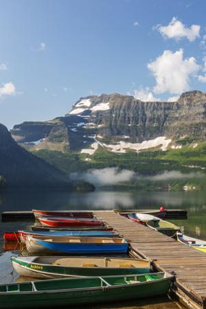 Canada, Alberta, Cameron Lake and Mount Custer with Dock and Canoes by Jamie & Judy Wild